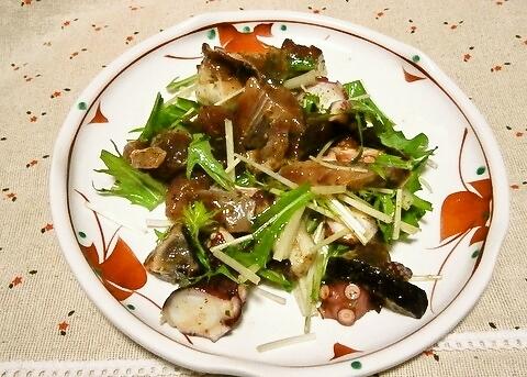 水菜とお刺身の和風サラダ