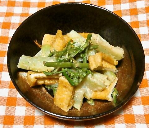 ブロッコリーの茎と油揚げの胡麻マヨ和え